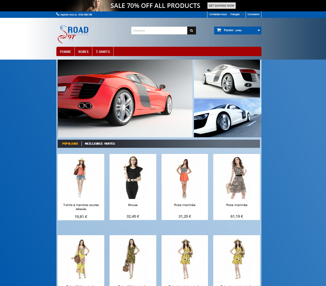 Template prestashop 1.6 Gratuit – Road 97